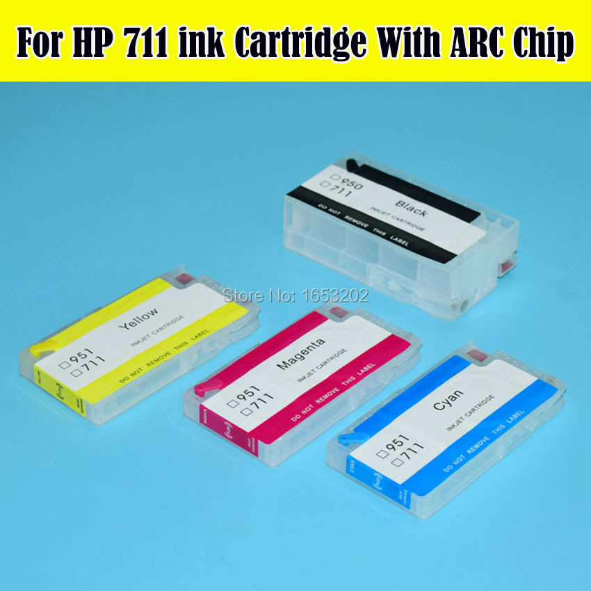 HOT Selling!! 4 Color/Set HP711 Refill Ink Cartridge With ARC Chip For HP Designjet T120 T520  For hp 711