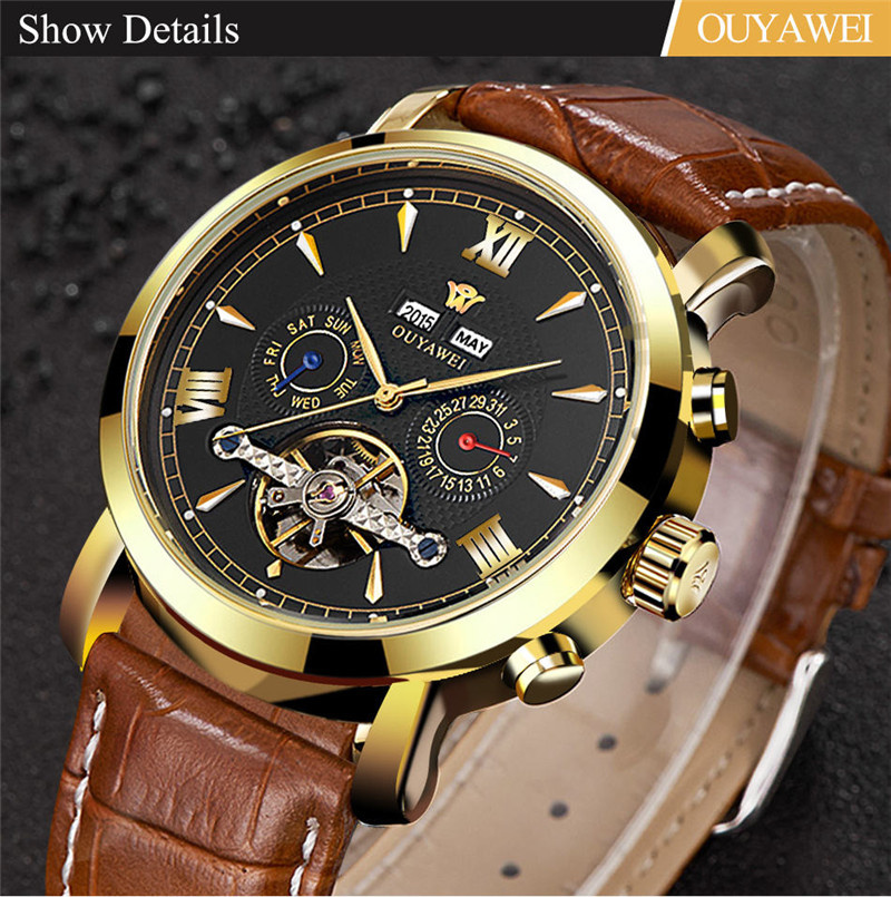 Mechanical Watch Mens Top Men\`s Automatic Mechanical Watches Wristwatch Leather watch relogio masculino (6)