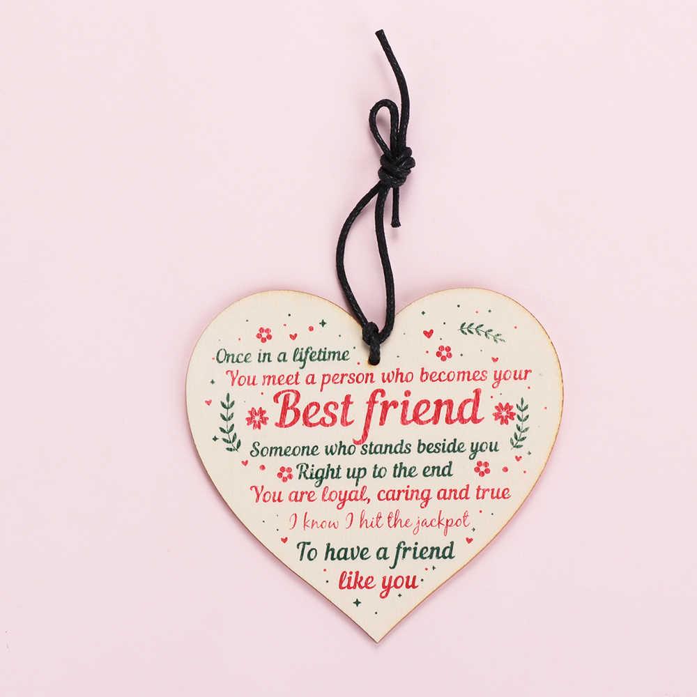 1PC הטוב ביותר חבר יום הולדת מתנות תודה עץ תליית לב ידידות פלאק סימן מלאכות בית תפאורה