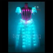 Tc-41 полный colorprogrammable Танцы платье LED костюмы Бальные певица носит шоу на сцене одежда Disco красочные свадебные освещения