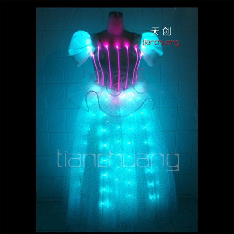 TC-41 colorProgrammable Completo vestido da dança led stage show roupas cantor trajes de dança de salão usa casamento discoteca iluminação colorida