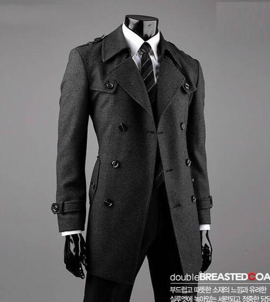 promo code f9959 e9901 US $87.2 20% di SCONTO Grigio inverno coreano giovani cintura mens del  cappotto di lana trench casuale sottile pisello cappotto per mens di modo  ...