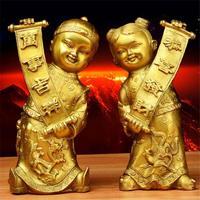 Китай Чисто Медь латуни благоприятный фэншуй золотой мальчик и нефрита девушка статуя