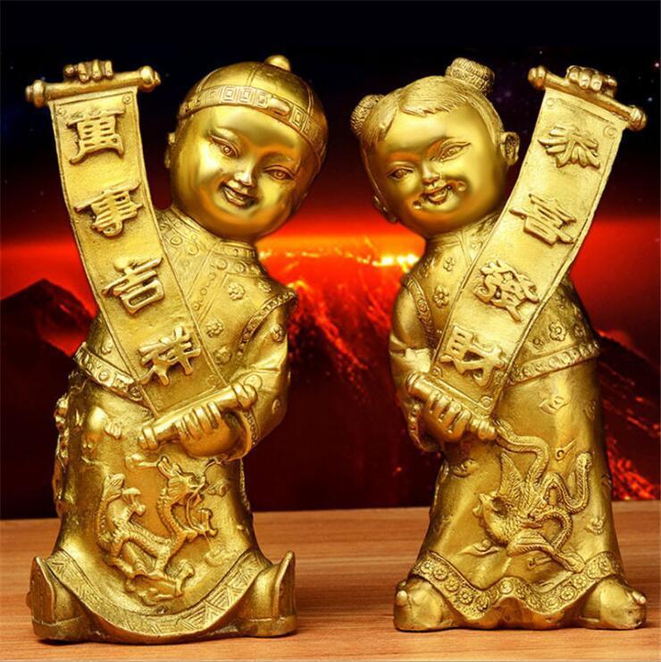 Cina Ottone Rame Puro Buon Auspicio Fengshui ragazzo doro e giada ragazza StatuaCina Ottone Rame Puro Buon Auspicio Fengshui ragazzo doro e giada ragazza Statua