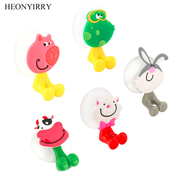 Baby Care Cute Cartoon Animal Shape Holder Sucker Suction Hooks Set Hanging Baby Kids Toothbrush Holder Bathroom Accessories