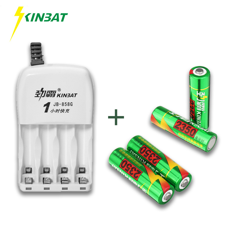 KINBAT 4pcs 2350mAh 1.2V AA Ni-MH Rechargeable Battery AA NiMH Battery With 4 Slots 1 Hour Fast Batteries Charger For Toy Camera