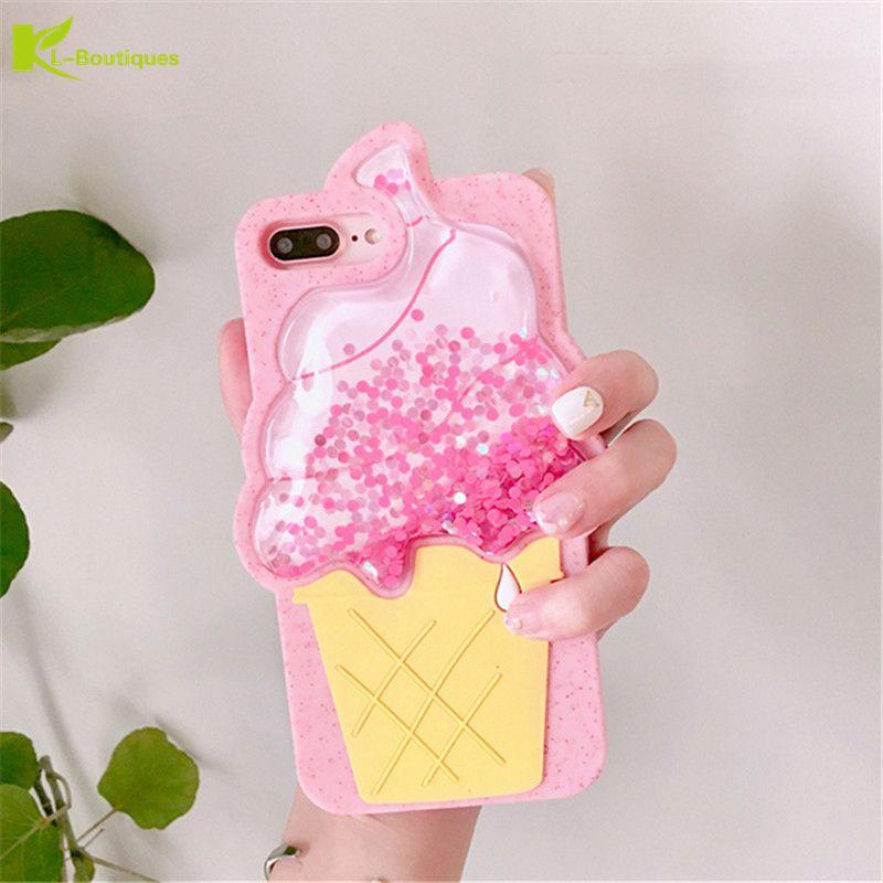 Drôle 3D Crème Glacée Doux Liquide Cas pour iPhone 8 Plus Dynamique Glitter Quicksand Couverture En Silicone Transparent Pour iPhone8 filles capa