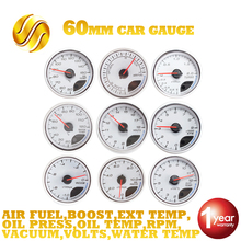 Dragon Gauge Car Gauge 60mm Boost VACUUM Water Temp Oil Temp OIL PRESS VOLTS AIR/FUEL RATIO EXT TEMP RPM Meter White Dial Face