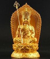Chinese Tibetan Buddhism Resin Gilt Ksitigarbha Bodhisattva Statue Pray Safety Buddha Statue