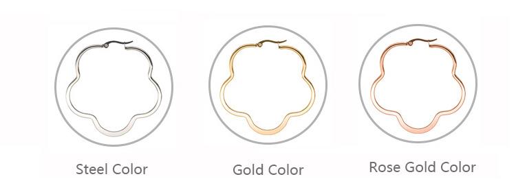 Модные серьги кольца цветок для женщин золотой цвет из нержавеющей