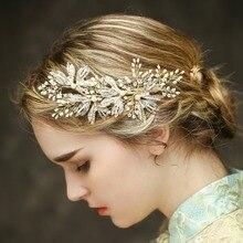 Жемчуг и горный хрусталь Свадебные зажимы для волос Роскошный лист сторона свадебное украшение винтажное украшение для волос Свадебные аксессуары
