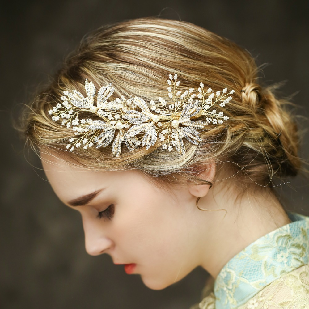us $20.93 30% off|pearl and rhinestone bridal hair clip luxury leaf side  wedding headpiece vintage hair ornament bridal accessories-in women's hair