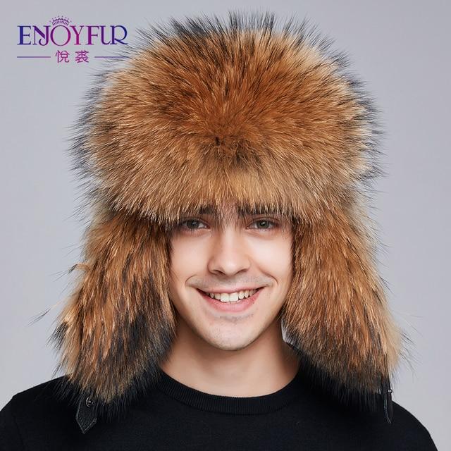 3c763324d70 ENJOYFUR 2018 winter hat earflap men real fox fur hats russian ushanka fur  protect ear warm enough high quality bomber hat