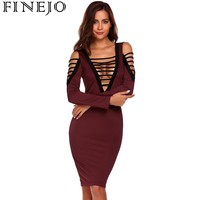 FINEJO Lace Up Vintage Dress Women Sexy Bodycon Dress Antumn Elegant Party Dresses Robe Femme 2017