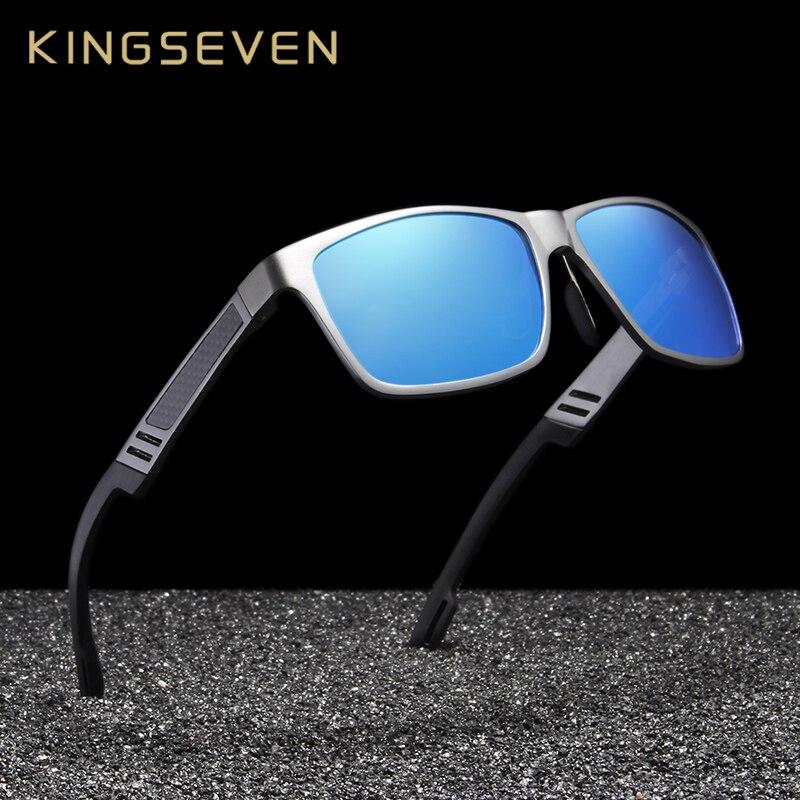 c7939b8f077a5 KINGSEVEN Unisex Alumínio Quadrado Homens Mulheres UV400 Polarizada Espelho  óculos de Sol Óculos óculos de