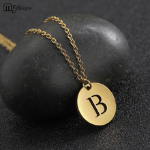My Shape Hollow Letter B Gold and Silver Small Round Pendant Stainless Steel  Necklace Women