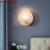 Wall Lamp Marble lampshade LED Wall Lamp copper White Mirror Light Living Room Wall Sconce Wall Deco Lighting brass lights foyer