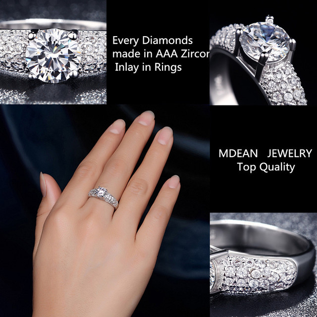 AndyChen Silver Color Bague Fashion Bijoux Femme Crystal Jewelry Accessories Engagement Rings for Women MSR024
