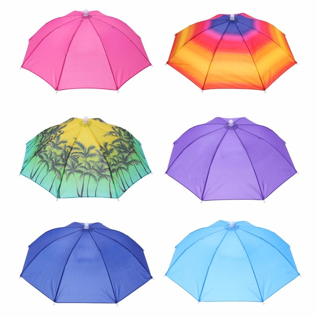0369f9100ba03 Portable Head Umbrella Anti-Rain Outdoor Hiking Travel Fishing Anti-Sun Umbrellas  Hat Kids Adults Supplies Head Wearing Umbrella