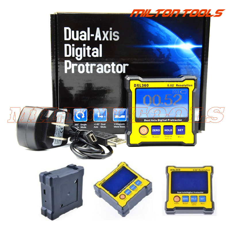 デジタル分度器傾斜計dxl360デュアル軸レベルメジャーボックス角度定規高度計  グループ上の ツール からの 分度器 の中 1