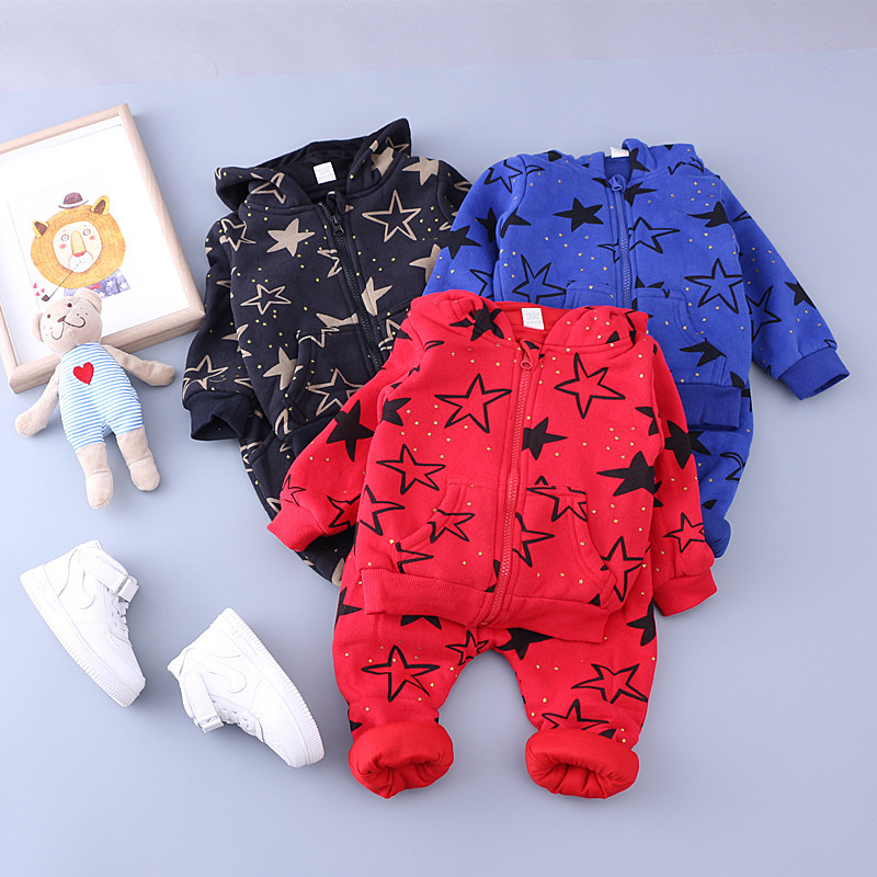 Children Tracksuit Kids Hooded Star Printed Coat + Pants 2018 Spring Thick Toddler Boys Clothing Set Tracksuit for Girls Outfits toddler girls clothing set batman suit boys hooded jacket pants suit set children sport suits spring kids tracksuit boy clothes