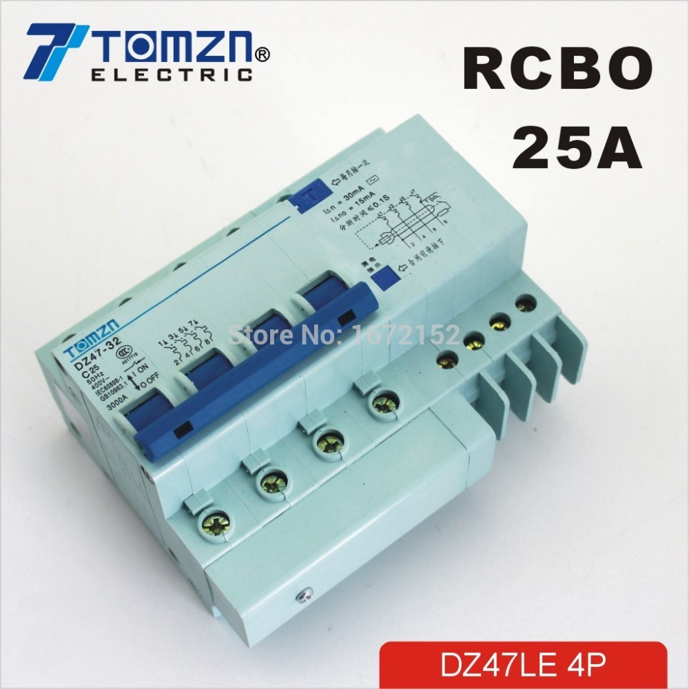 DZ47LE 4P 25A 400V~ 50HZ/60HZ Residual current Circuit breaker with over current and Leakage protection RCBO dz47le 3p n 63a 400v 50hz 60hz residual current circuit breaker with over current and leakage protection rcbo