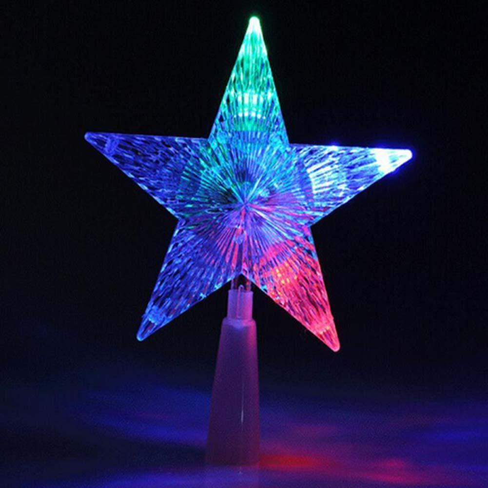 2019 Christmas Tree Topper Star Light Colorful Changing Toy Gift LED Lamp Decorations Party Lights Xmas Outdoor EU Plug