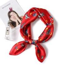 Square Women Silk Scare Fashion Animal Print Female Neck Scarfs Foulard Lady Office Neckerchief Hair Shawl