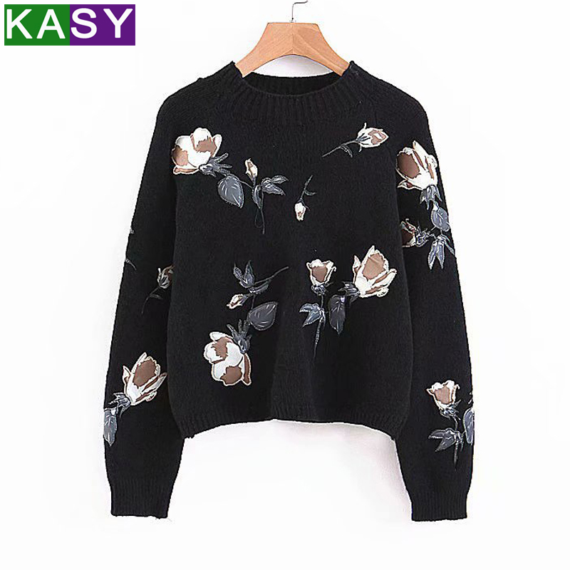 Embroidery Crewneck Bolero Sweater with Print Patterns Women Casual White Knit Wool Short Sweater Pullover Winter Maglioni Donna
