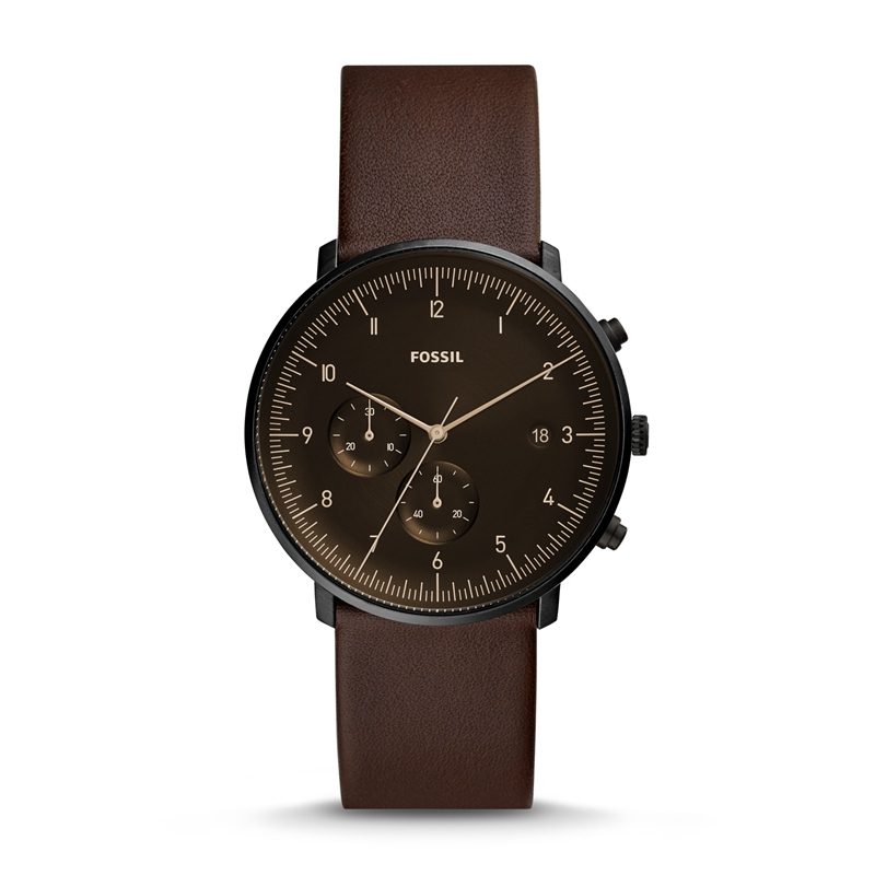 FOSSIL Men Watch Chase Timer Chronograph Whisky Leather Watch Fashion Casual Quartz Wristwatch for Men FS5485P