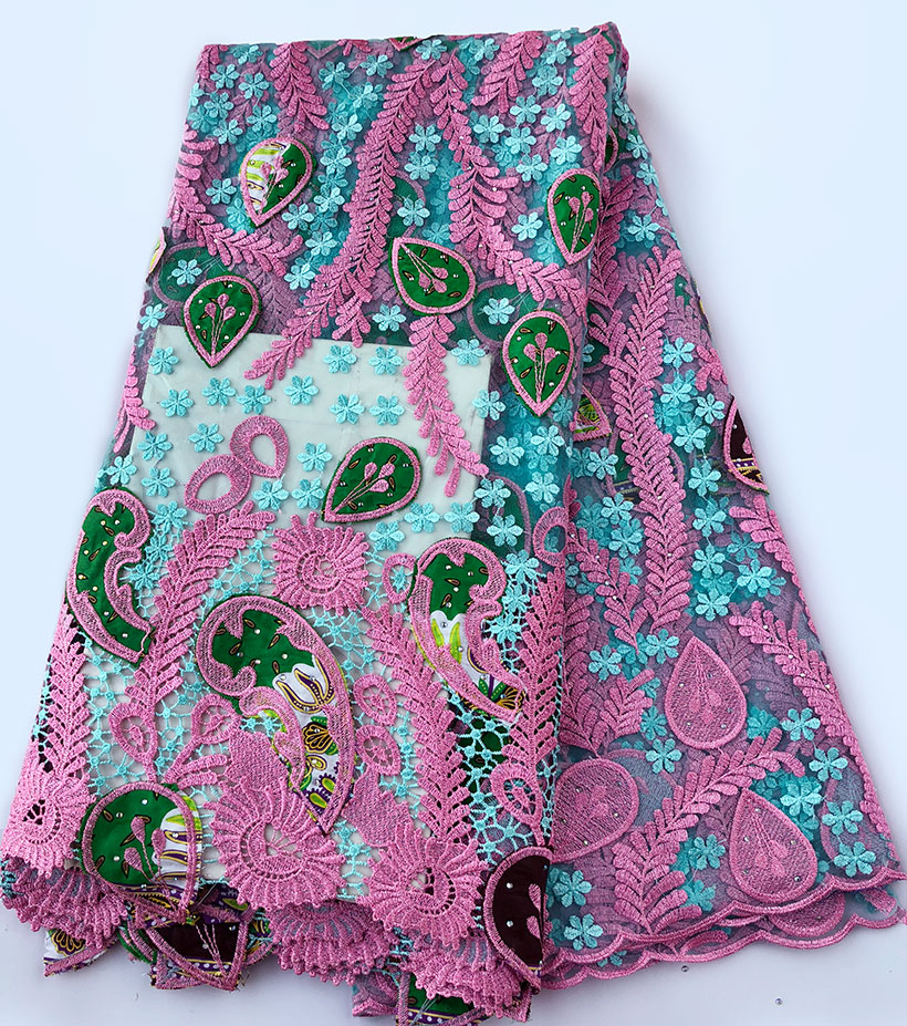Genuine Wax embroidery African french lace tulle fabric Nigerian sewing cloth with guipure lace borders High