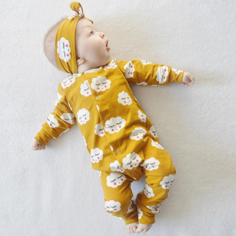 Cloud pattern baby girl romper Cotton Baby Clothes Autumn new born baby clothes Long Sleeve boy clothes Infant Baby Girl Clothes wholessale children 2016 fashion style new arrival es winter party clothes brand es baby girl clothes pattern new nice hot