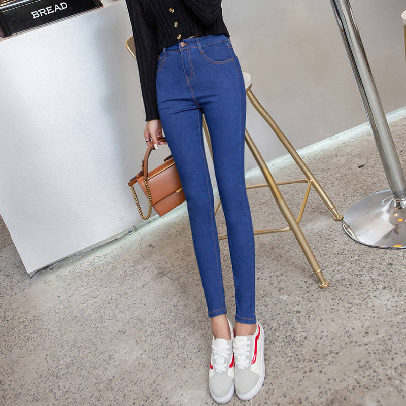 New Fashion Skinny Denim Pencil Jeans Woman Elastic High Waist Trousers Black Blue Stretch Plus Size Washed Jeans Female