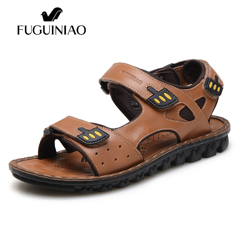 Free shipping FUGUINIAO Genuine Leather Summer Leisure Beach shoes Men s sandals color dark blue brown