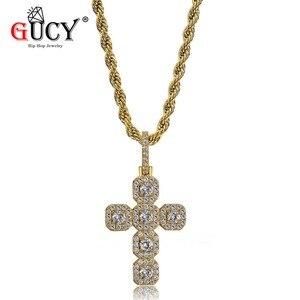 GUCY в стиле «хип-хоп» с новым крест ожерелье, подвеска из золота серебра Цвет льдом микро проложить CZ камни подвеска Хип-хоп Цепочки и ожерель...