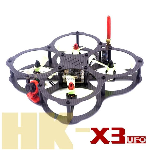 DIY mini FPV quadcopter drone QAV-HK X3 UFO 130 puro de marco de fibra de carbono para 3045, 3030 3/4 pala de la hélice