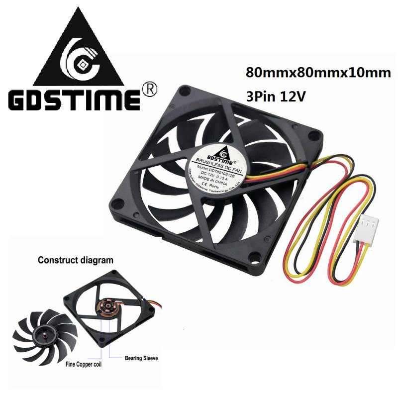 5 Pieces Gdstime 80x80x10mm <font><b>3Pin</b></font> Connector DC 12V Brushless PC CPU Cooling <font><b>Fan</b></font> <font><b>80mm</b></font> x 10mm 3 inch 8cm Black Blue Motor Cooler image