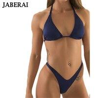 2016 New Sexy Strapless Bikini Set Women Micro Swimwear V Thong Bottom Solid Halter Swimsuit Strappy