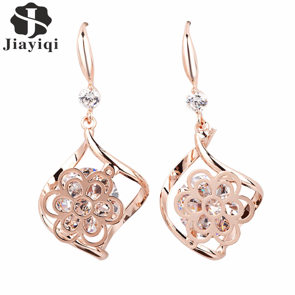 2017 New Fashion Rose Gold color Flower Shaped Crystal Earrings Hot Sale Cubic Zircon Fine Jewelry for Women Pendientes