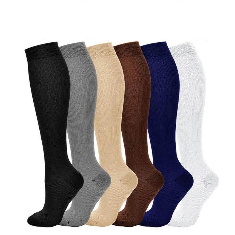 Unisex Solid Nylon Varicose Vein Compression Sock Women Shaping Travel Stretch Pressure Circulation Shank Sock