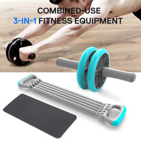 3 In 1 Gym Equipment Chest Pull Exerciser Push up Handles Belly Roller Wheels Arm Expander Pull Bar Weight Exerciser Equipment