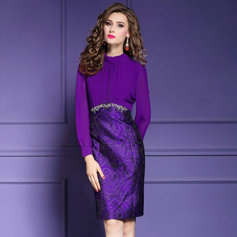 Parti De Perles Travail Hiver Crayon Robes 2018 Floral Vintage Chemise Patchwork Femmes Printemps Bleu Supérieure Qualité pourpre Robe Dames ChdrBtQsox