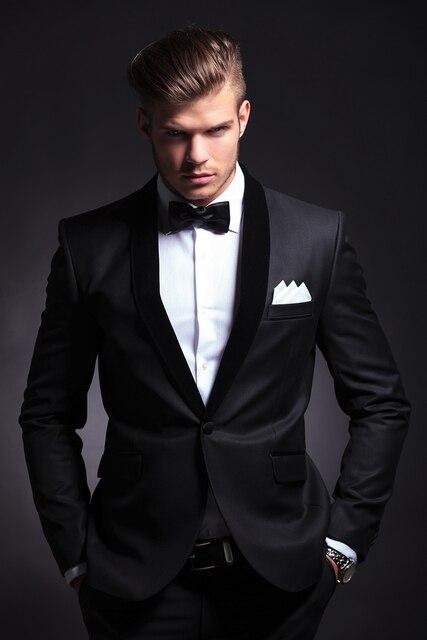Homme Cool style Haute qualité Châle revers Noir Marié Tuxedos Costume  d affaires De Mariage 54e8c4dd004