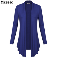 Messic Women Long Sleeved Slim Soft Draped Cardigan Autumn Long Cardigan Female Fashion Women Collar Cardigan