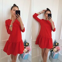 Women Dress 2017 New Fashion Solid Three Quarter Natural O-Neck Casual Style Above Knee Loose Mini Dresses