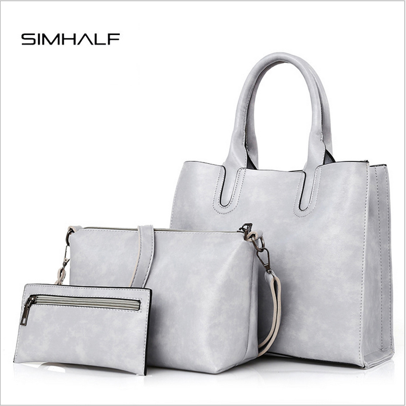 NEWEST SIMHALF High Quality Women PU Leather Totes Bag Solid Crossbody Messenger Bag Ladies Fashion Shoulder Bag