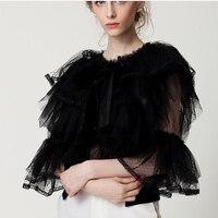 HIGH QUALITY Summer New Fashion 2017 Designer Top Blouse Women S Flare Sleeve Cascading Gauze Ruffle