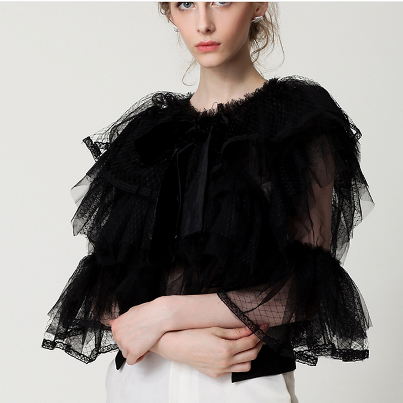 Ambitious High Quality Summer New Fashion 2017 Designer Top Blouse Women's Flare Sleeve Cascading Gauze Ruffle Blouse Crazy Price