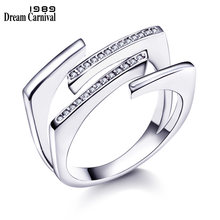 DreamCarnival 1989 New Hot Style Unique Women Rings for Bridal High Quality AAA Clear White CZ Stone Luxury Fashion Anel WA11330(China)