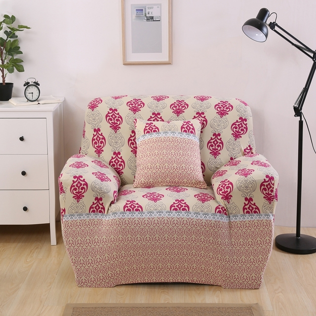 Red pattern modern sofa cover geometric print couch cover for living ...